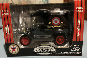 """1999 GEAR BOX TOY (TEXACO) 1912 FORD """"T"""" DIE-CAST BANK. NIB LOW STOCK NUMBER"""