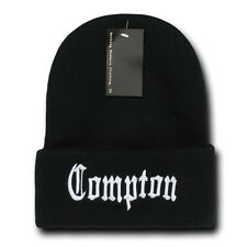 Black   White Compton Vintage Embroidered Hip Hop Cuffed Beanie Beanies Hat  Hats 3a54a03fd31d