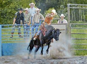 William John Jr Rodeo Bull Riding Kicking Up Dust 30x40 Acrylic Painting