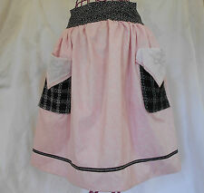 Nw Cotton Apron Women's Handmade FULLY LINED Pink Dots Embroidered tweed Pockets