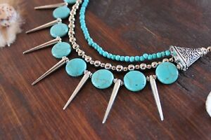 Gorgeous Handmade 3 Layer Blue Turquoise Bead & Silver Spike Necklace