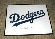 SIGNED Los Angeles Dodgers DUKE SNIDER Framed Dodgers Uniform Fabric Logo