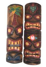 2 Tiki masque en bois dans le Hawaii aspect mural salon Feng Shui South Lake
