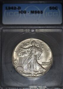 1942-D Walking Liberty Half Dollar ICG-MS65 , Better Date, Issue Free Gem !!