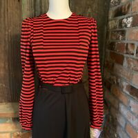 Vintage 80 Lynn Davis Red & Black Striped Dress Long Sleeve Small NEW union made