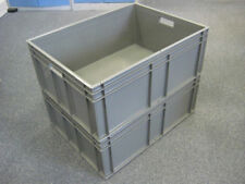 3 New Grey Plastic Storage Removal Crates Box Container 125 Litre