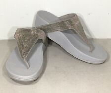 FitFlop Lottie Shimmermesh Women's Sz 8 Silver Casual Flip Flop Sandals X6-1011*