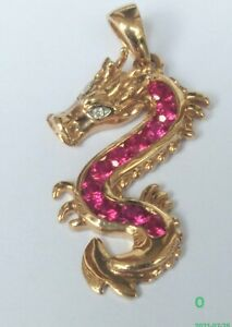 9ct Gold Seahorse Pendant Charm. Ruby & Diamonds