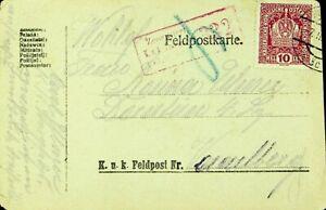 AUSTRIA 1918 WWI 10h COAT OF ARMS ON FELDPOST CARD TO DORNBIRN VORARLBERG