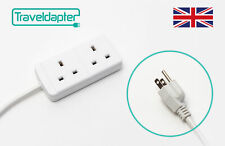 World Wide Travel Adapter JAPAN Extension Lead Multi 2 UK Plug to 3 Pin 1m