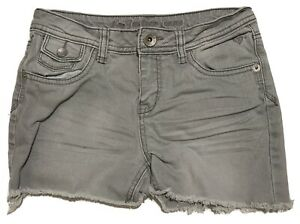 Justice Jean Shorts Girls 14R Simply Low Gray Frayed Cut Off