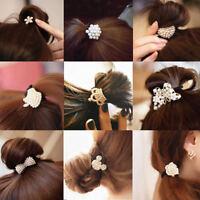 Elegant Pearl Rhinestone Bowknot Tie Hair Band Rope Ring Elastic Ponytail Holder