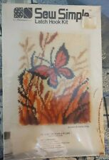 """New listing Sew Simple Autumn Butterfly E712 Latch Hook Rug Kit Nip 18"""" X 24"""" Vintage"""