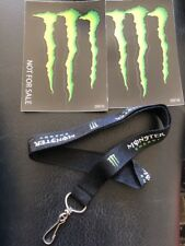 New Monster Energy Drink Lanyard Keychain And 2 Monster Energy Stickers