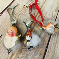 Vtg handmade husk Christmas ornaments elf angel reindeer 50s 60s