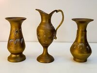 Set of 3 Antique brass Pitcher and vase