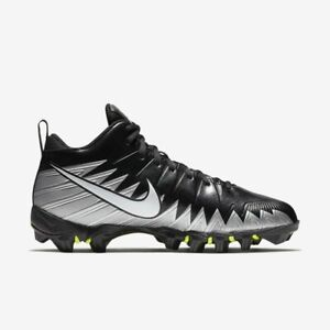 New Mens Nike Alpha Menace Shark Football Cleats Black / Silver-Pick Size
