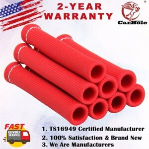 8x Red 1200° Spark Plug Wire Boots Heat Shield Protector Sleeve SBC BBC 350 454