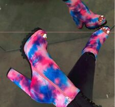 Women Faux Leather High-heel Platform Boots Zip Tie-dye snakeskin printed 9080
