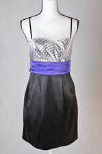As U Wish Womens  black gray pinstripe purple back tuxedo Dress Size: 9 (K)