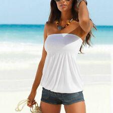Ladies Womens Stretchy Ruched Bandeau Boobtube Crop Vest Top Plus Size 16-22