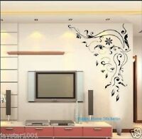 Large Mural Flower Vine Wall Stickers Black Art Decal