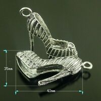 6PCS Vintage Silver Tone High Heel Shoes Pendant Charm 40*35*13mm 38625