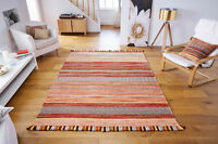 STRIPED RUST & RED'S Cotton KILIM Handwoven DHURRIE Rug Small 60x90cm MAT 50%OFF