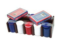 Vintage Red White Blue POKER CHIPS & 2 DECKS Cards Set LAS VEGAS Plastic Org Box