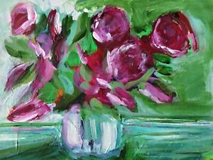 Original Acrylic Painting Purple Flowers in a Vase on Paper Still Life Art No 4