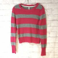 AEROPOSTALE Cozy Pink & Gray Striped Sweater Juniors Size Large Long Sleeve