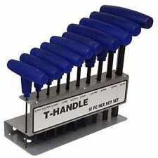 QUALITY 10 PCE T HANDLE HEX ALLEN WRENCH KEY SET & STAND - ALAN ALLAN