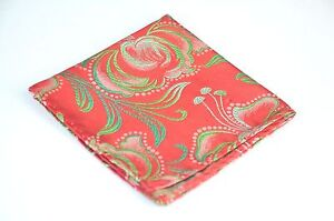 Lord R Colton Masterworks Pocket Square - Fire Red & Green Futurism - $75 New