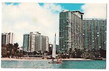 ILIKAI Hotel Waikiki Beach Complete Resort Lanais SAILBOAT Hawaii Postcard HI