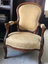 Beautiful Vintage French Carved Wood Accent Arm Chair. Golden Yellow