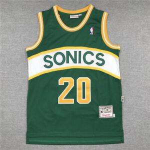 Retro Gary Payton #20 Seattle SuperSonics Basketball Jersey Stitched Green