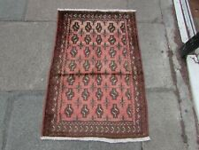 Vintage Hand Made Traditional Oriental Wool Faded Pink Small Rug 103x70cm
