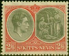 More details for st kitts & nevis 1938 2s6d black & scarlet sg76 good mnh