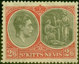 St Kitts & Nevis 1938 2s6d Black & Scarlet SG76 Good MNH