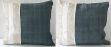 Pair of Hand Woven Hemp and Cotton Cushion Pillow Covers Hand Made in Thailand