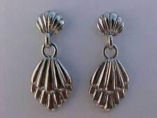 """Silver Oyster Shell Earrings Clam Shell Earrings Dangle Pierced  1-1/4"""""""