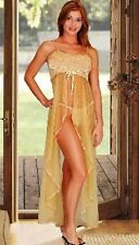 NWT SHEER GOLD BURGUNDY LINGERIE NIGHTGOWN LONG GOWN S M L