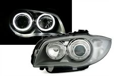 2 FEUX PHARE AVANT ANGEL EYES LED BMW SERIE 1 E87 E88 E81 E82 FOND GRIS SILVER