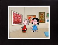 Charlie Brown PEANUTS Animation Cel and 2 Drawings 1973 Melendez Museum Visit