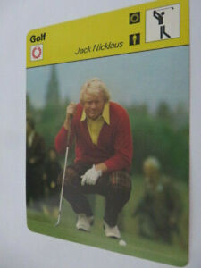 A on back #02-02 FRENCH SPORTSCASTER CARD / GOLFING / JACK NICKLAUS