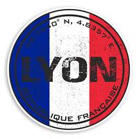 2 x 10cm Lyon France Vinyl Stickers - Flag French Travel Sticker Luggage #20545