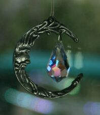 Lead Free Pewter Man In The Moon Sun Catcher Made With Swarovski Crystal