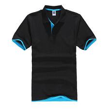 Hot Mens Fashion Short Sleeve Polo Collar Work Casual T-shirt Cotton Shirt Tops