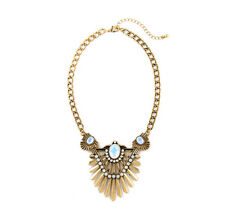 NEW * Anthropologie Damara Egyptian Opal Beaded Rustic Gold Collar Necklace