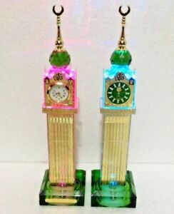 Crystal Glass Makkah Tower Clock Tower With Multi lights Islamic Home Ideal Gift